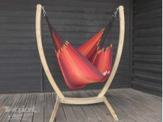 CHAISE HAMAC AVEC SUPPORT MARRON