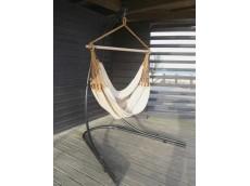 hamac chaise beige avec support metal