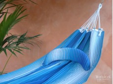 coussin hamac bleu blanc