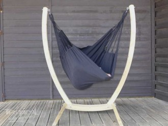 Chaise hamac Noir XL avec support bois