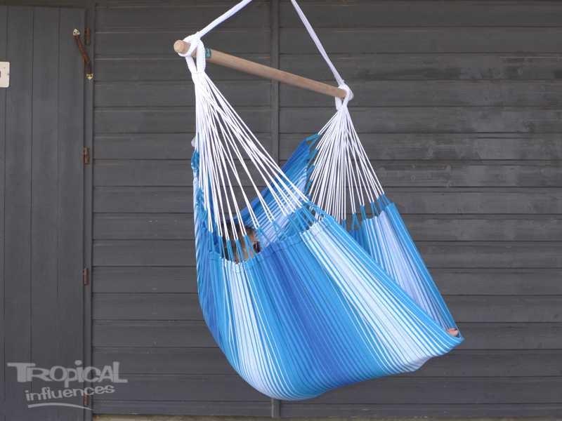 Hamac chaise bleu blanche