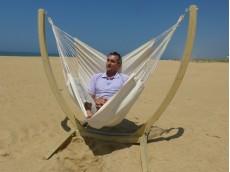hamac chaise écru avec support bois