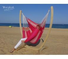 hamac chaise rose fucshia avec support bois