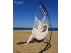 hamac chaise ecru avec support metal