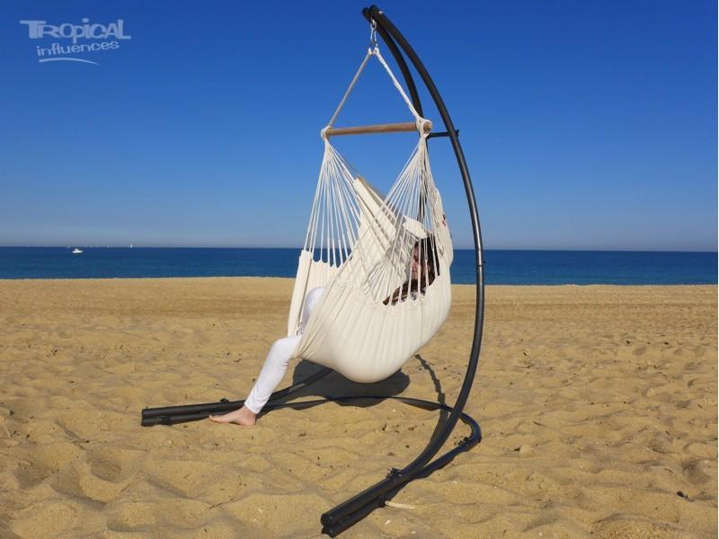 chaise hamac ecru avec support metal