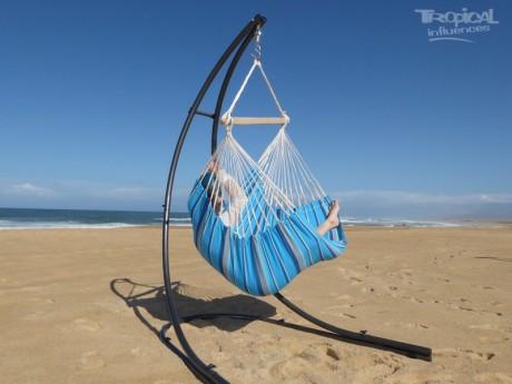 hamac chaise bleu avec support metal