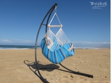 hamac chaise bleu avec support bois