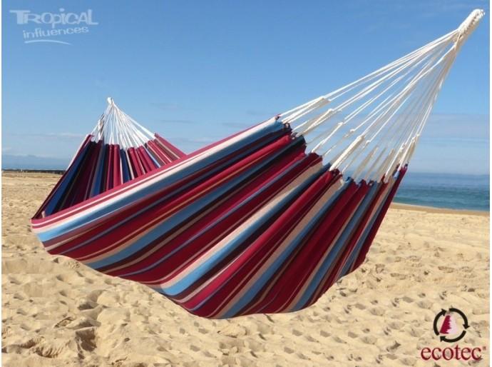 Hamac bordeaux turquoise plage taille solo