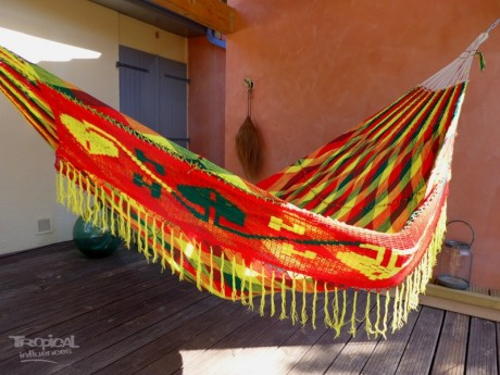 hamac filet wayuu vert jaune rouge tropical hamac. Black Bedroom Furniture Sets. Home Design Ideas