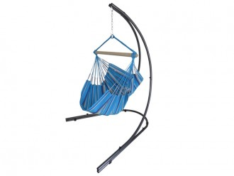 hamac chaise bleu avec support metal