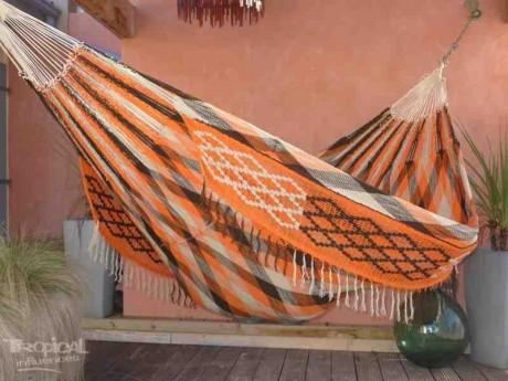 Hamac Wayuu orange noir écru