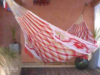 Hamac Grand Luxe WAYUU rouge beige blanc