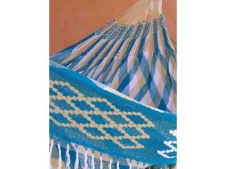 Hamac wayuu turquoise beige blanc