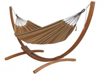 hamac avec support bois marron