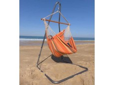 Chaise hamac orange avec support