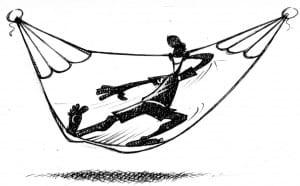 Position en diagonale pour profiter de son hamac