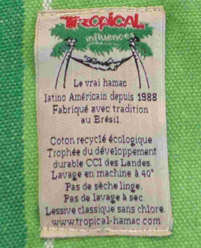 Etiquette Tropical Hamac écologie